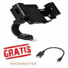 Phone Holder Motor dan Sepeda via Setang/Stang Untuk HP / GPS - Hitam Free