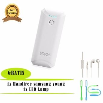 Power Bank Robot RT5600 5200mAH - White + USB LED lamp + Samsung Handsfree - Headset - Earphone for S6310/5360 - Putih