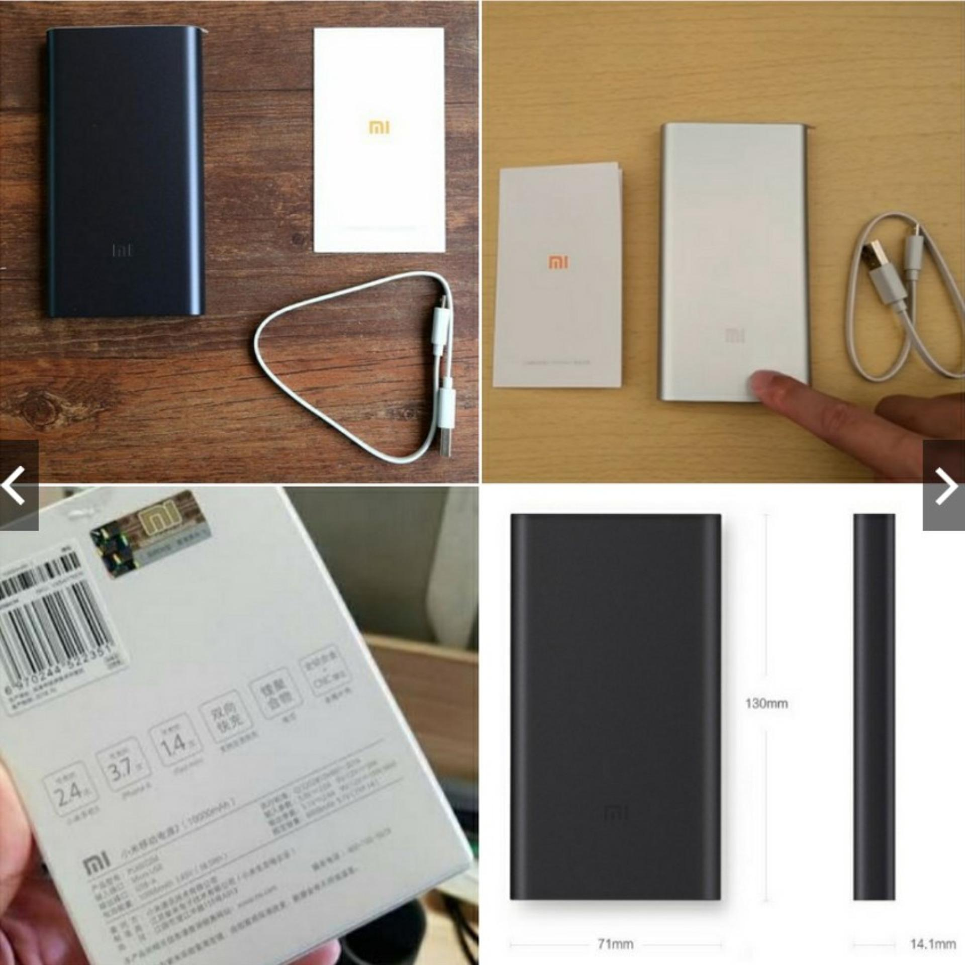 Xiaomi Mi Power 2 Original Fast Charging Powerbank Silver 10000 Mah Bank 10000mah Slim Charge Pro