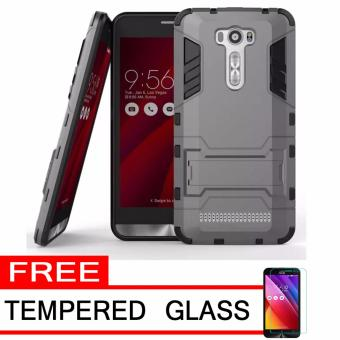 ProCase Shield Rugged Kickstand Armor Iron Man PC+TPU Back Covers for Asus Zenfone 2 Laser ZE500KL/ZE500KG - Grey + Free Tempered Glass
