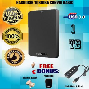 harga Promo Toshiba Canvio Basic 1TB - HDD / HD / Hardisk Eksternal - Hitam + Gratis Pouch Hdd + Otg Mini Reader + Usb Hub 4 Port Lazada.co.id