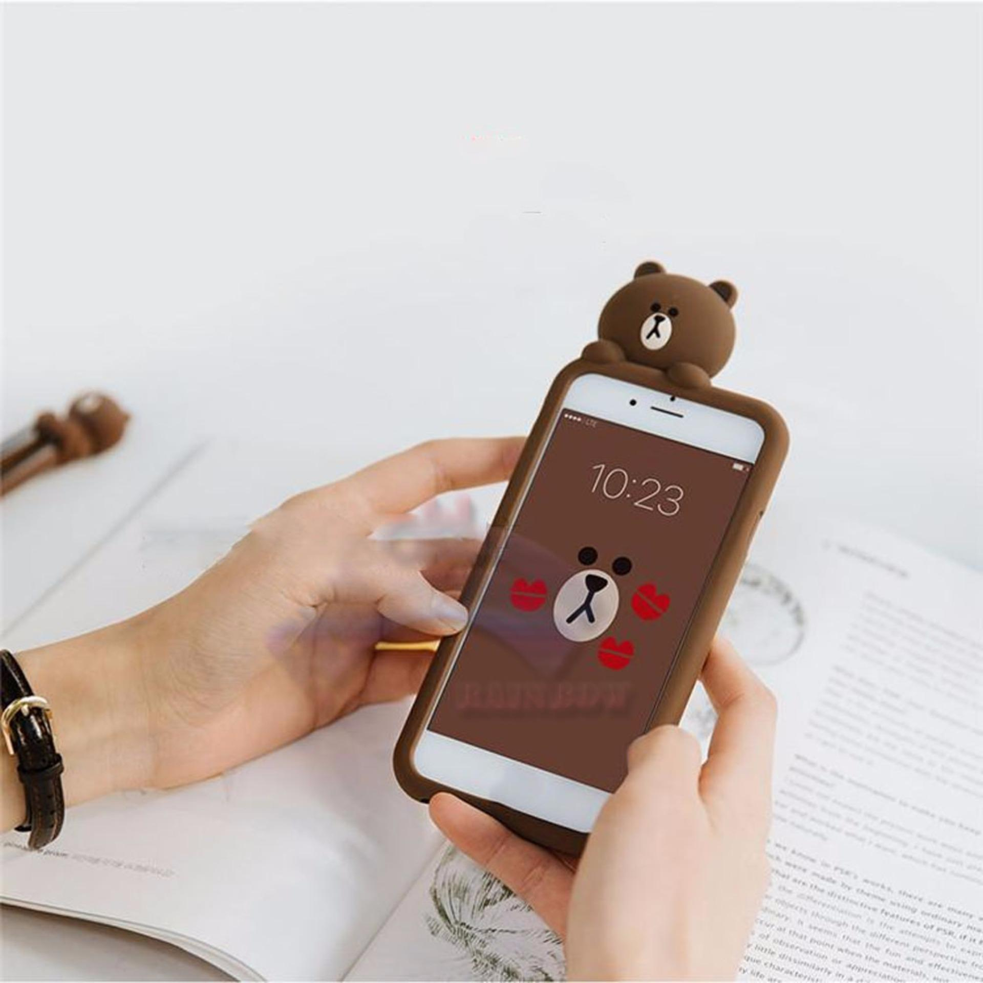 Rainbow Oppo Neo 9 Silikon Case 3D Karakter Line Bear Brown SallyPeek a Boo / Soft