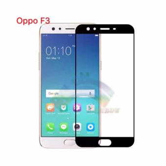 Rainbow Tempered Glass Oppo F3 Temper Full Black Screen Coverage /Anti Gores Kaca 9H / Screen Protector / Pelindung Layar / TemperGlass Oppo F3 (Depan Only) - Hitam