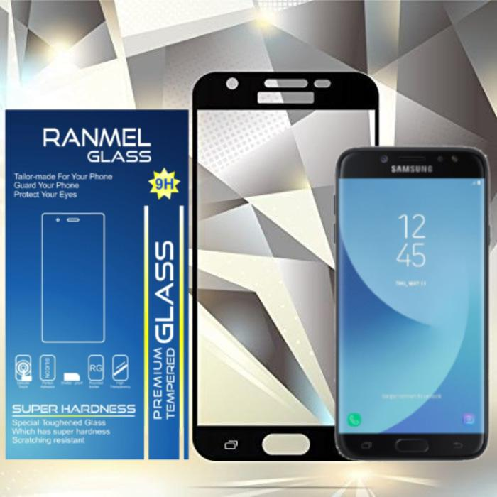 Flash Sale Ranmel Glass Tempered Glass for Samsung Galaxy J7 Pro Full Hitam - Anti Gores Kaca / Screen Guard / Screen Protector / Pelindung layar- Hitam