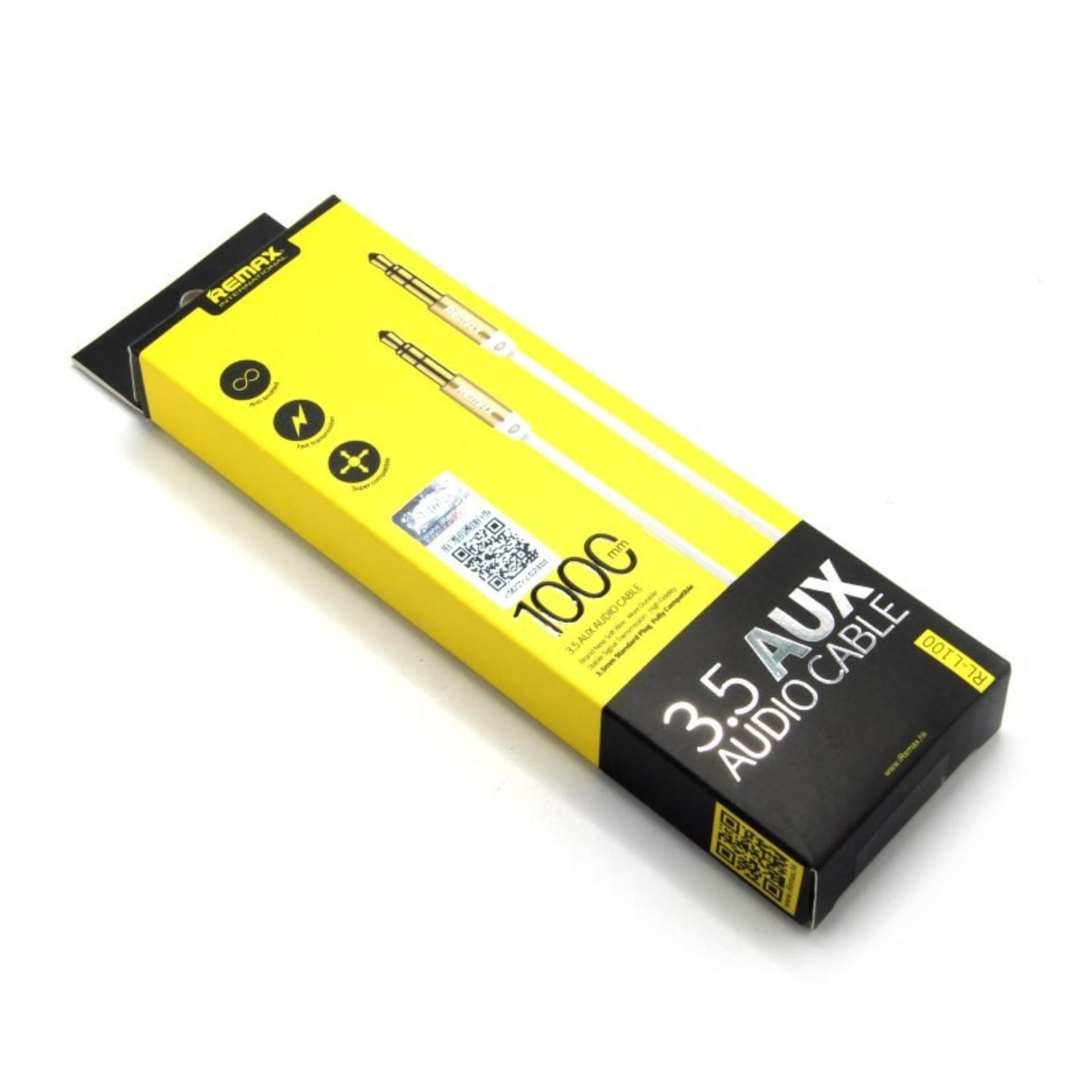 Remax Premium AUX Cable 3.5mm 1 Meter for Headphone SpeakerSmartphone - Putih .