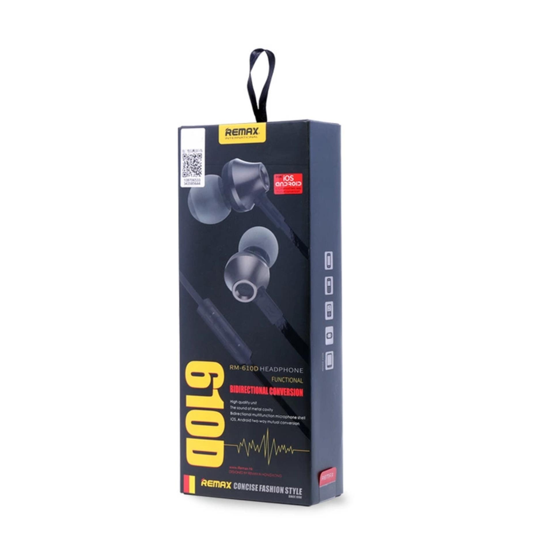 ... Remax RM 610D Android / iOS Headphone Stereo Bass Handsfree - Hitam ...