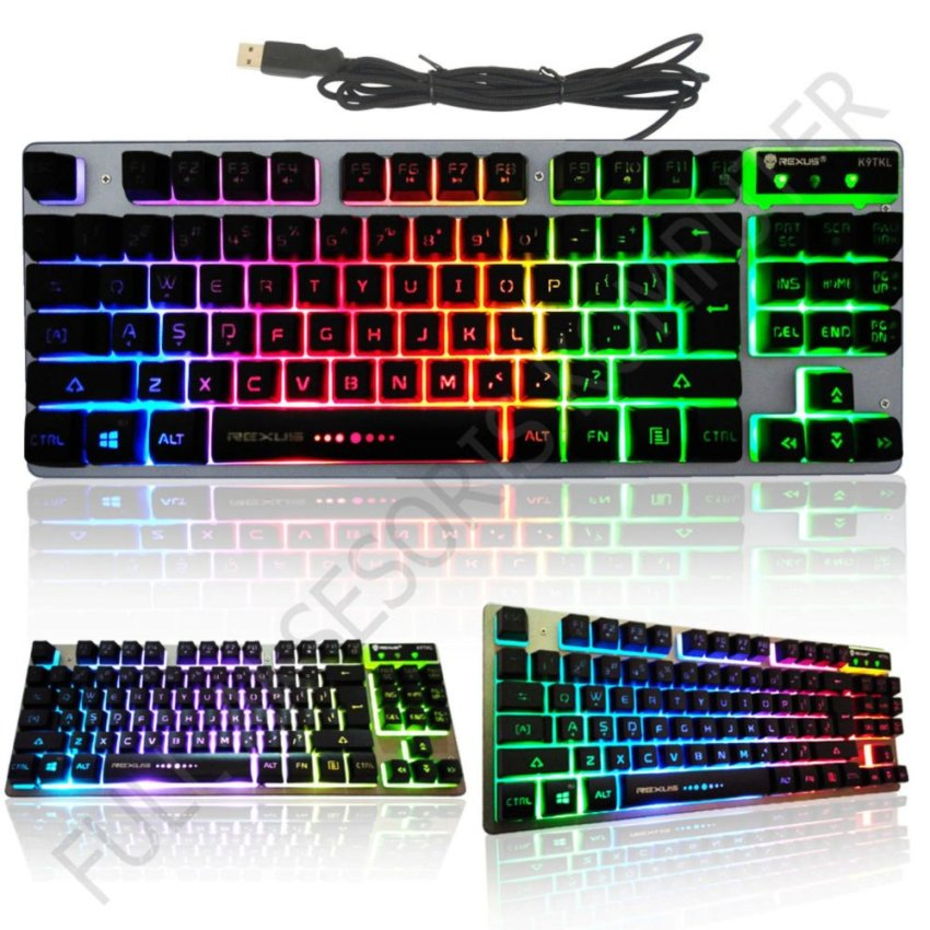 Rexus K9TKL Keyboard Gaming USB Battlefire + 3 Colors Rainbow Backlight - Silver