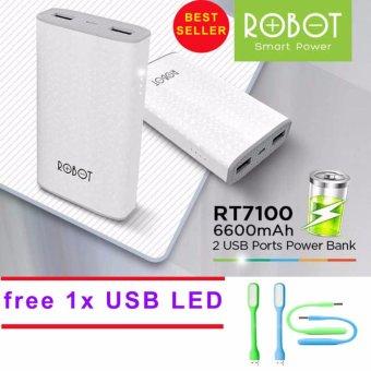 ... Robot Powerbank RT7100 6600mAh Power Bank Dual Output + USB LED