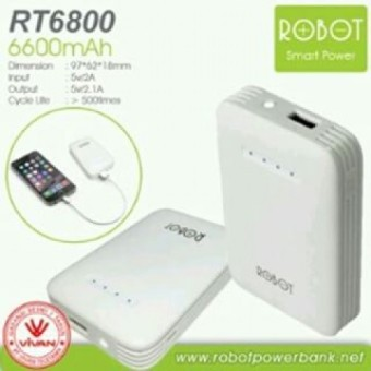 Robot Premium Power Bank RT6800 - 6600 mAh - Putih