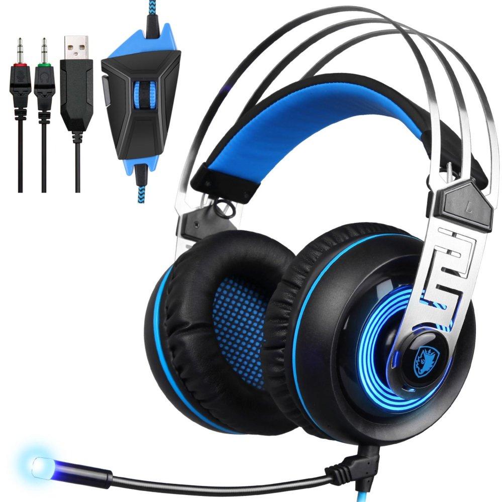 ... SADES A7 7,1 Virtual Sound USB Headset Gaming dengan mikrofonLinght LED chip kartu suara ...