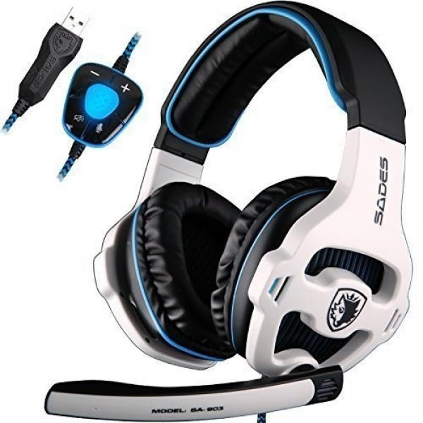 SADES SA903 Gaming Headset 7.1 Surround Sound USB PC Computer Stereo Game Headphones with Microphone LED