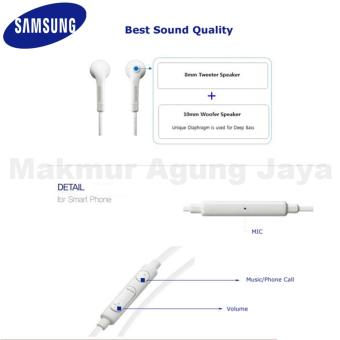 Samsung Galaxy S6 Edge Original Headset Compotibel S3 /S4 / S5 / S6 Edge - Note 2 / 3 / 4 Headset - White + free earbus - 3