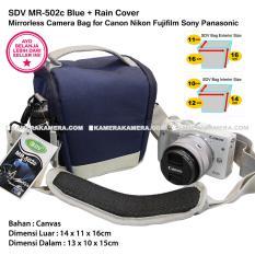 SDV MR-502c Blue Canvas Bag with Rain Cover Tas Kamera Mirrorless Canon Nikon Sony FujiFilm Panasonic Olympus Samsung