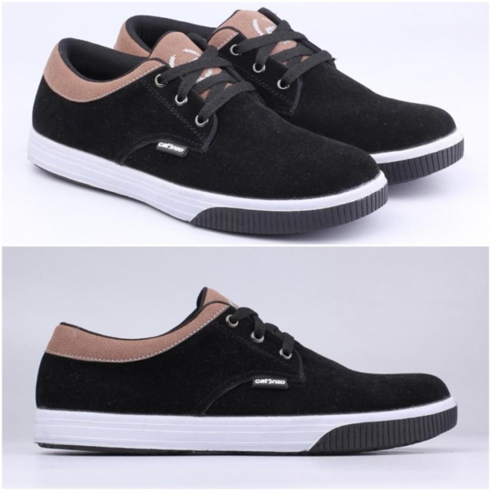 Sepatu Kets Pria Sekolah Kuliah Sneakers Casual Hitam Bertali Catenzo