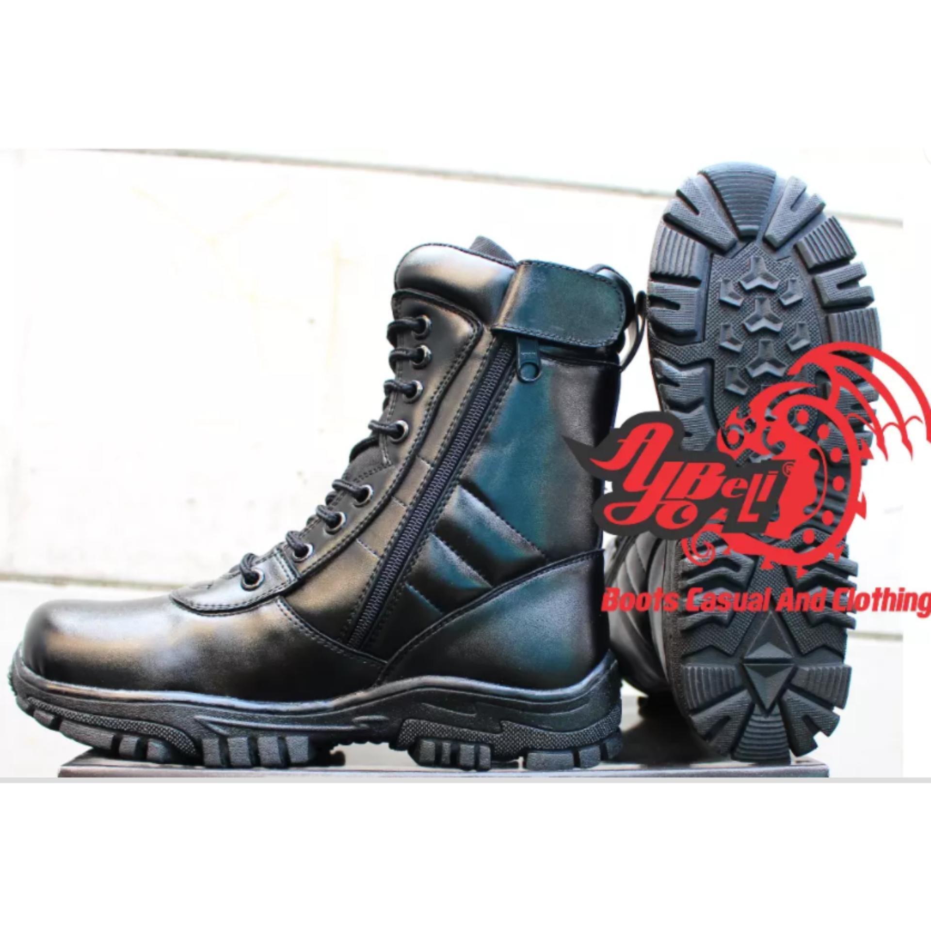 Sepatu Pdl Boots Tali Resleting Tni Polri Security Motif Kulit Jeruk Ter Source