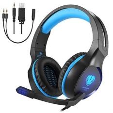 SL-100 3.5mm Headset Headphone Gaming Headphone Earphone Headband dengan Mikrofon LED Light untuk