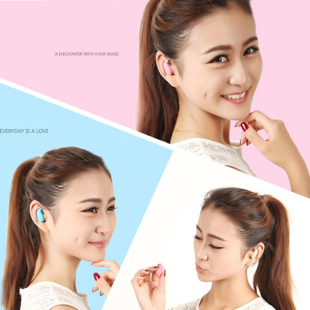SltcrPasion Universal Invisible Micro Mini In Ear Earpiece Bluetooth Headphone Wireless Earbuds with .
