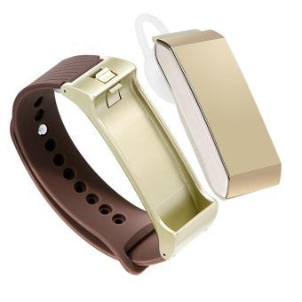 Smart Bracelet Bluetooth Headset Pedometer Sleep Fitness Tracker 2in 1 Headphone Earphone Wristband Watch For Huawei Samsung Xiaomi -intl