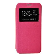 Smile Flip Cover Case untuk Vivo Y21 / Y22 - Hot Pink