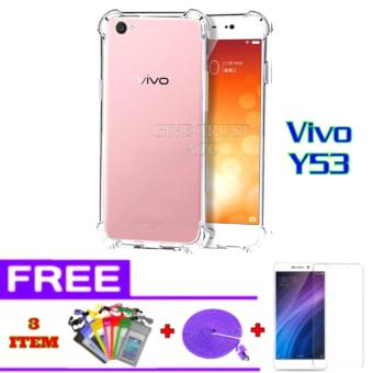Softcase Anti Jamur Anti Crack Vivo Y53 Air Case 0.3mm / Silicone / Soft Case Y53 / Case Hp Y53 + FREE + Tempered Glass + Kabel Data Tali Sepatu 3 meter + Waterproof Multicolor.