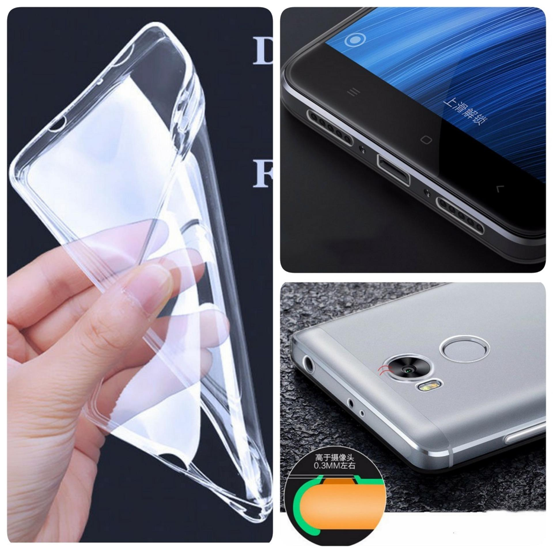 Softcase Jelly Ultrathin For Xiaomi Redmi 4 Prime Aircase Hitam +Free Tempered Glass .