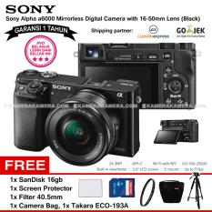 SONY Alpha 6000 Black with 16-50mm Lens Mirrorless Camera a6000 - WiFi 24.3MP Full HD (Garansi 1th) + SanDisk 16gb + Screen Guard + Filter 40.5mm + Camera Bag + Takara ECO-193A