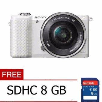 Sony Alpha A5000L Kit 16-50mm - 20.1 MP - Putih + FREE MC 8 GB
