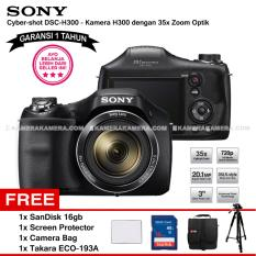 SONY Cyber-shot DSC-H300 Digital Camera H300 (Garansi 1th) 20.1MP 35x Zoom + SanDisk 16gb + Screen Protector + Camera Bag + Takara ECO-193A