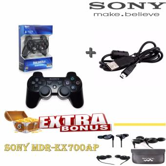 Sony Playstation Ps3 Stick DualShock Wireless Controller - Original + Sony Kabel Data USB Free Handsfree MDR-EX700AP