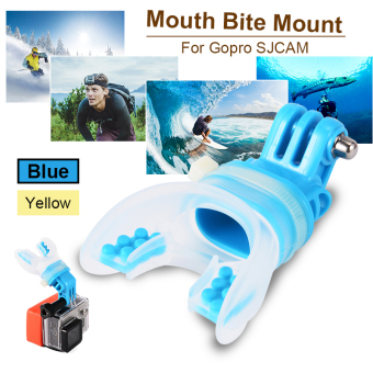 TELESIN Breathable Mouth Mount + Floaty for Gopro Cameras Hero4/3+/3 Blue OS585