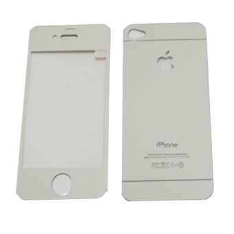 Harga Tempered Glass 2in1 Mirror Glossy For Apple iPhone 4/ Iphone4/iPhone 4G/ iphone 4S Anti Gores Kaca / Screen Guard - Silver