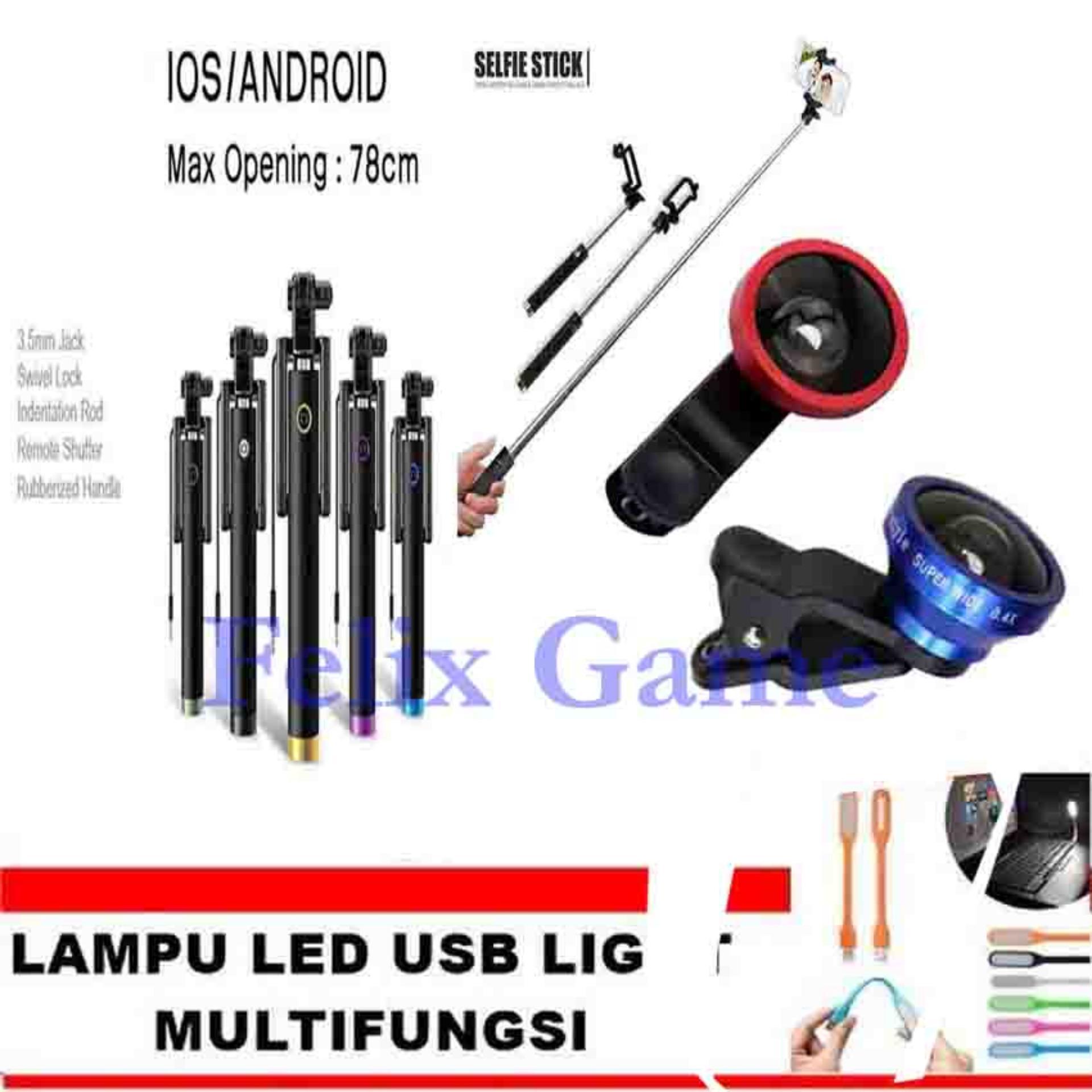 Price comparison Tongsis Monopod Kabel Black+ Lensa Super Wide 0.4 X + GRATIS LampuLED USB Lights