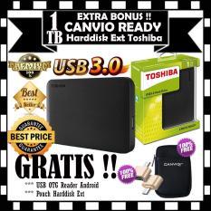 Toshiba 1TB Canvio Ready - Black GRATIS Pouch Harddisk & Usb OTG Reader Android