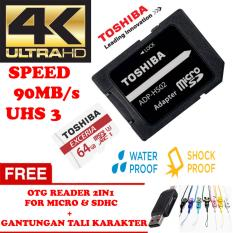 TOSHIBA Micro SD Card With Adapter 64GB Class10 UHS-3 90MB/S, Micro SD 64GB memory card 1080p full-HD 3D 4K Video Card + Gratis Reader 2in1 for Micro & Sdhc + Gantungan Tali Karakter Lucu