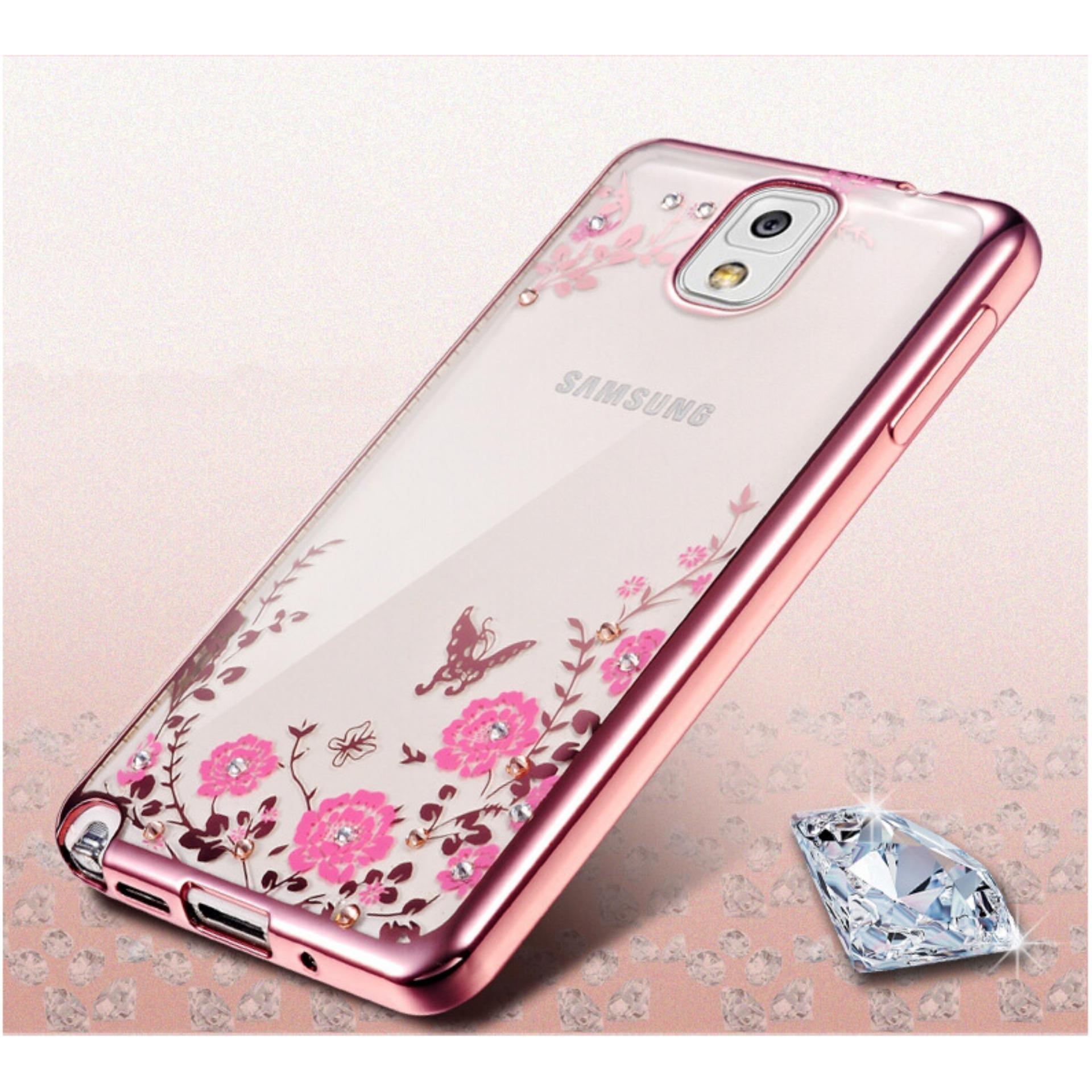 TPU silikon Gel lembut berwarna merah muda bunga belakang CaseUntuk Samsung Galaxy Note .