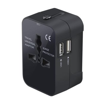 Travel Power Adapter, Worldwide All in One Universal Power Converters Wall AC Power Plug Adapter Power Plug Wall Charger with Dual USB Charging Ports for USA EU UK AUS Cell phone laptop-Black
