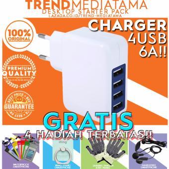 Trend's Charger Adaptor 6 Ampere 4 Port USB Charger Gratis Sarung Tangan + Handsfree Earphone Headset + Waterproof + Iring