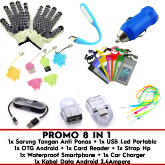 Trend's Paket 8 in 1 - Kabel data 2.4 Ampere + OTG Android + Card Reader + Sarung Tangan + Waterproof + Car Charger Mobil + Strap + Led USB Portable