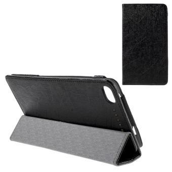 Tri-fold Stand Leather Case untuk Lenovo PHAB Plus PB1-770 N 6.8-inci baris tekstur - hitam