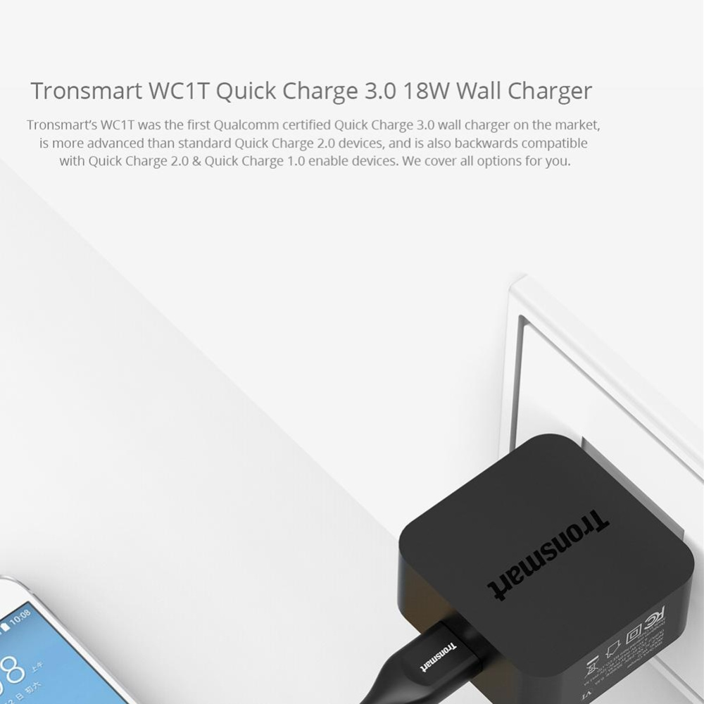 ... Tronsmart Quick Charge 3.0, 18W USB Wall Charger PowerPort+ 1(Quick Charge 2.0 Compatible ...