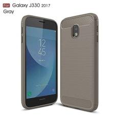 Ultra Ringan Carbon Fiber Armor Shock bukti Brushed silikon Grip case untuk Samsung Galaxy J3 Pro