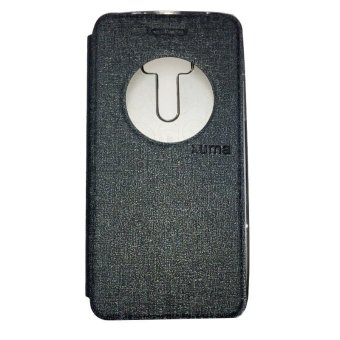 Ume Asus Zenfone 2 Laser ZE550KL Ukuran 5.5 Inch / Zenfone LaserFlip Shell / FlipCover / Leather Case / Sarung HP / View - AbuGelap