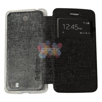 Ume FLip Leather Phone Cover for Oppo Joy 3 / Oppo A11W / Oppo A11/Joy3 Sarung Case / Flipshell / Flip Cover / Leather Case / SarungHP / View - Hitam