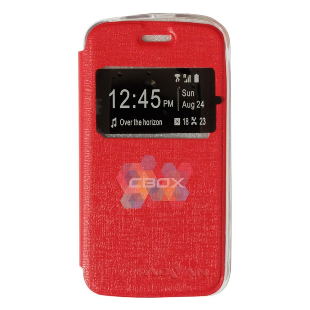 ... Ume Phone Cover for Advan Vandroid S4t Flip Shell silicone /Leather Faux Case - Merah ...