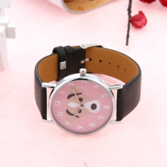 Unisex Lovely Cute Dogs Pattern PU Leather Bracelet Casual Quartz Watch(Black) - intl - 3