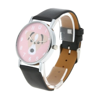 Unisex Lovely Cute Dogs Pattern PU Leather Bracelet Casual Quartz Watch(Black) - intl - 5