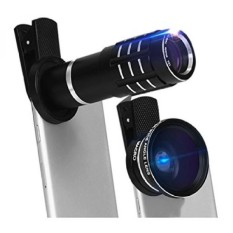 Universal 4 In 1 HD 12x Zoom Telescope Telepon 180 Gelar Fisheye 0.45X Wide Angle 12.5x Micro Lens Metal Clip Phone Camera Lens Set (Hitam) -Intl