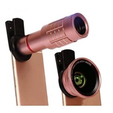 Universal 4 In 1 HD 12x Zoom Teleskop Ponsel 180 Derajat Fisheye 0.45X Sudut Lebar 12.5x Lensa Mikro Metal Clip Phone Camera Lensa Set (rose Gold) -Intl