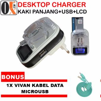 Universal LCD USB Travel Charger Kodok + Vivan Kabel Data Micro USB