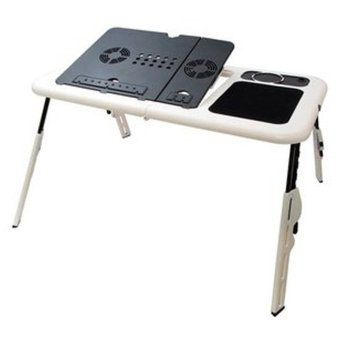 Universal Meja Laptop Lipat Portable Multifungsi - T04 E-Table DeskWith Fan Cooler - Putih